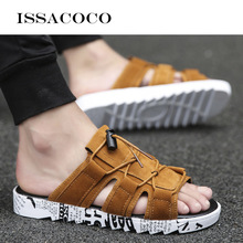 ISSACOCO Men Shoes Unisex Hollow Slippers Fashion Outdoor Breathable Casual Couple Beach Sandal Flip Flops