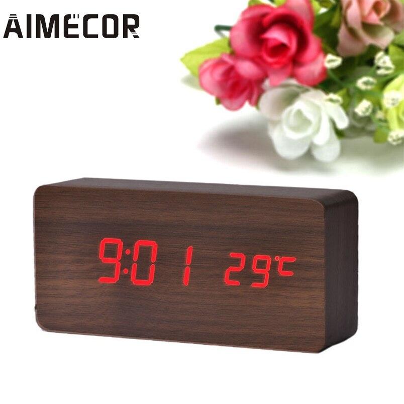 Aimecor 147*39*70mm Temperature Display Sounds Control Electronic Desktop LED Alarm Clock *30 Gift Drop