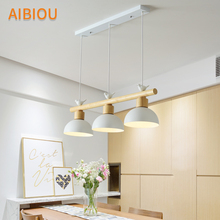AIBIOU Nordic LED Pendant Light With Metal Lampshade For Dining Room White Lamp Bird Hanging E27 Wood Luminaira