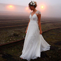 Романтический Пляж Кружева Свадебные Платья 2017 Sexy Backless Пляж vestido де noiva Плюс Размер Boho Китай Свадебные Платья Свадебное Бресс