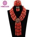 Chunky Mujeres Collar Llamativo Conjunto Dubai Oro Africano Sistemas de la Joyería de Coral Perlas de la Boda Joyería Conjunto Envío Gratis ABL169