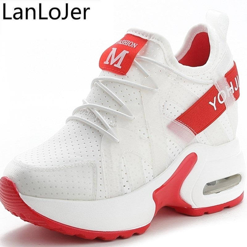 10CM Red White Hidden Wedge Heels Sneakers Casual Shoes Woman High Platform Shoes Women's High Heels wedges Shoes For Women