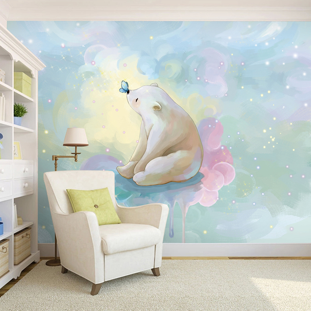 freies verschiffen ein gro es wandbild gemalt eisb r karikatur fantasie kinderzimmer. Black Bedroom Furniture Sets. Home Design Ideas