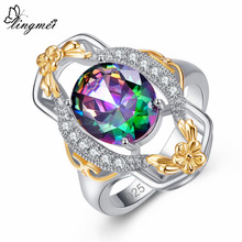lingmei New Arrival Oval Multicolor & Red White CZ Flower Design Silver Color Ring Size 6 7 8 9 Wedding Women Party Jewelry Gift