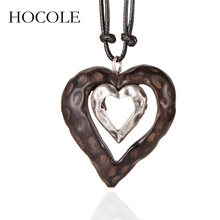 HOCOLE 2018 New Women Heart Pendant Wood Necklace Long Double Sandalwood Necklaces for Women Jewelry Collares Mujer Bijoux Femme hocole new arrive sandalwood pendant necklace for women men vintage wooden necklace long rope chain necklace jewelry collares