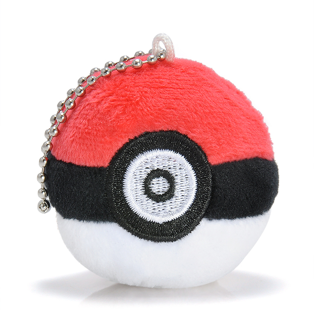 Lovely Red Pokemon Poke Ball Key Chain Plush Doll Soft Stuffed Toy