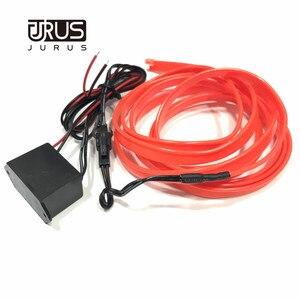 Image 5 - JURUS 10 sztuk Car Styling oświetlenie otoczenia oświetlenie wnętrza samochodu akcesoria do Auto LED Strip lampa 12V falownik rura linowa linia Lmap