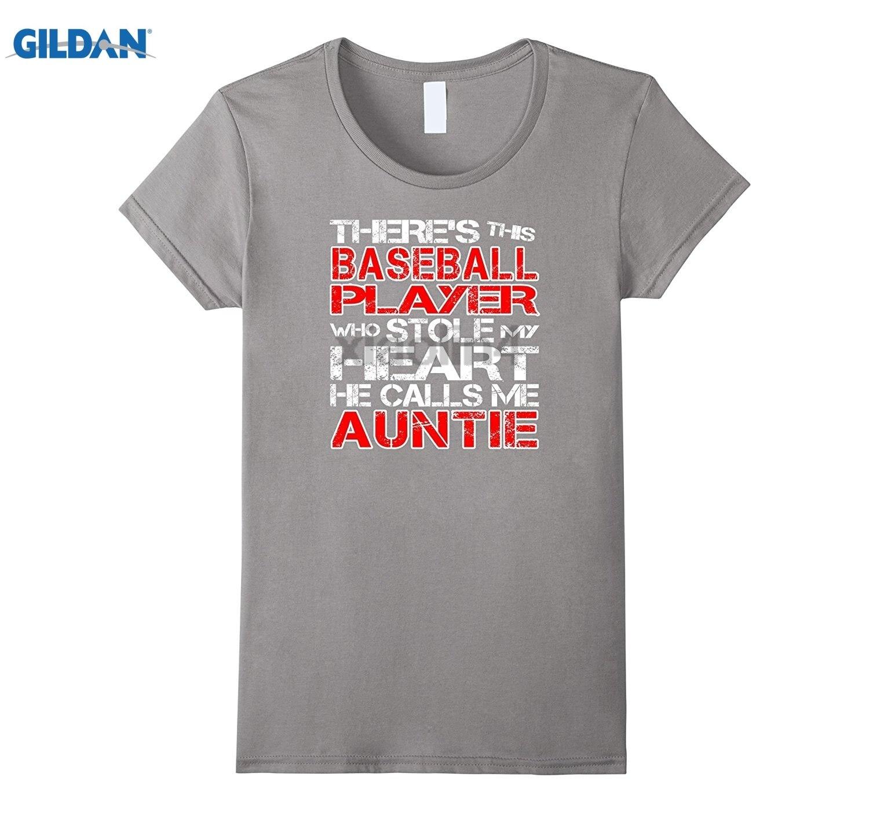 GILDAN Baseball Player Stole My Heart He Calls Me Auntie T-Shirt T Funny T-shirt Womens T-shirt