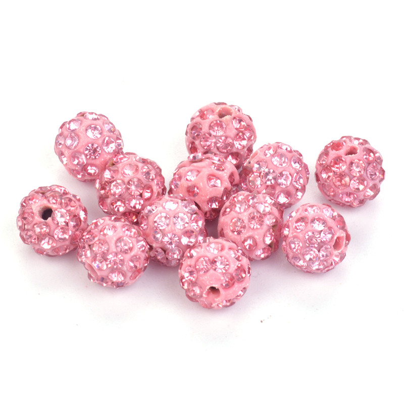 Glorious Pink Color Shambala Beads Pave Clay Disco Ball Beads For Shamballa Necklace Bracelet Earrings 50pcs 10mm Elegant And Sturdy Package Jewelry & Accessories