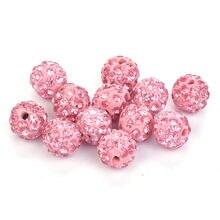 b191b3183a27 Color rosa Shambala pavimentan la bola del Disco de la arcilla de Shamballa  pulsera del collar pendientes 50 piezas 10mm