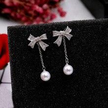 White Color Cubic Zircon Bowknot Pearl Earrings