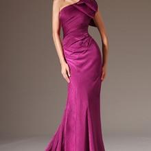 Новое Стильное вечернее платье на одно плечо, сливовое вечернее платье русалки с бантом на плече