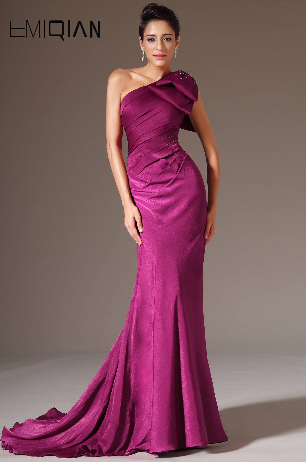 New Stylish One Shoulder Evening Gown,Plum Mermaid Evening Dresses With Shoulder Bow