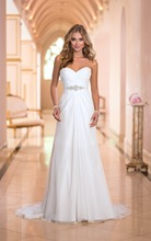 Don's Bridal A Line Wedding Dresses Chiffon Sweetheart Neck Beaded Floor Length Sweep Train Bride Gowns 2016