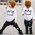 2016 Unisex nueva ropa del bebé corona de manga larga camiseta impresa Tops + modelo geométrico pantalones conjuntos
