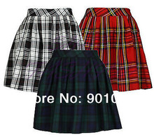 Free shipping Short Sexy Pleated Tartan Mini Skirt Micro Mini Skirt Kilt size S 6XL