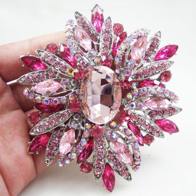 Huge brooch luxury pink oval flower woman brooch pin rhinestone huge brooch luxury pink oval flower woman brooch pin rhinestone crystal silver tone mightylinksfo