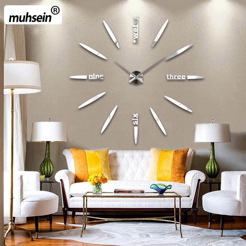 2017 New100 Positive feedback Wall Clock Acrylic Metal Mirror Super Big Personalized Digital Wall Watches Clocks  Free shipping