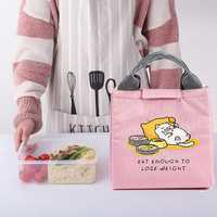 Animal bonito Dos Desenhos Animados Menina Almoço Portátil Saco de Isolamento À Prova de Frio Saco Térmico Saco de Piquenique Lona Totes Bolsa de Transporte Para Crianças Mulheres