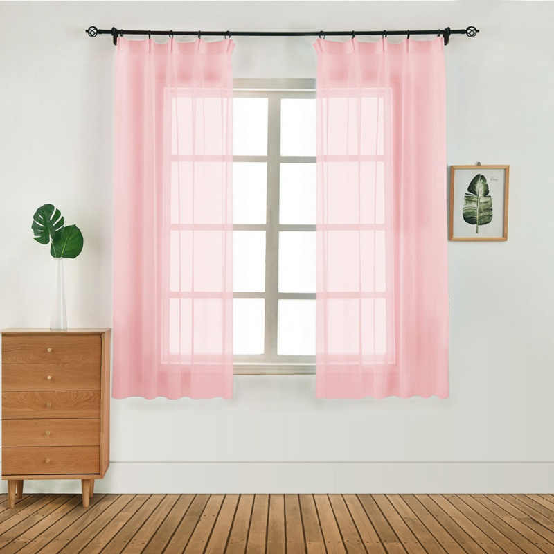 100x130cm Door Window Curtain Pure Color Tulle Curtain Drape Panel Sheer Scarf Valances Modern Bedroom Living Room Curtains