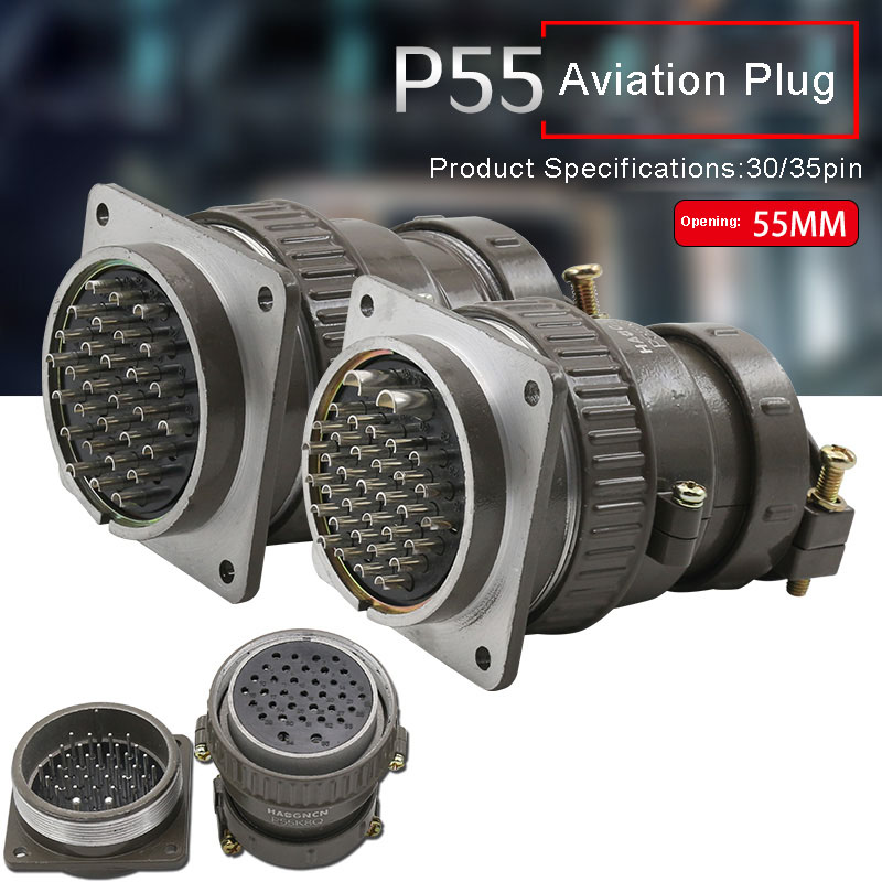P55 Aviation Connector Plug Socket 30pin 35pin P55K3Q P55K8Q 55MM Round Connectors For Mechanical Equipment
