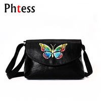 Black Women Leather Messenger Bags Crossbody Butterfly Shoulder Bags Female Small Women Handbags Luxury Brand Bags