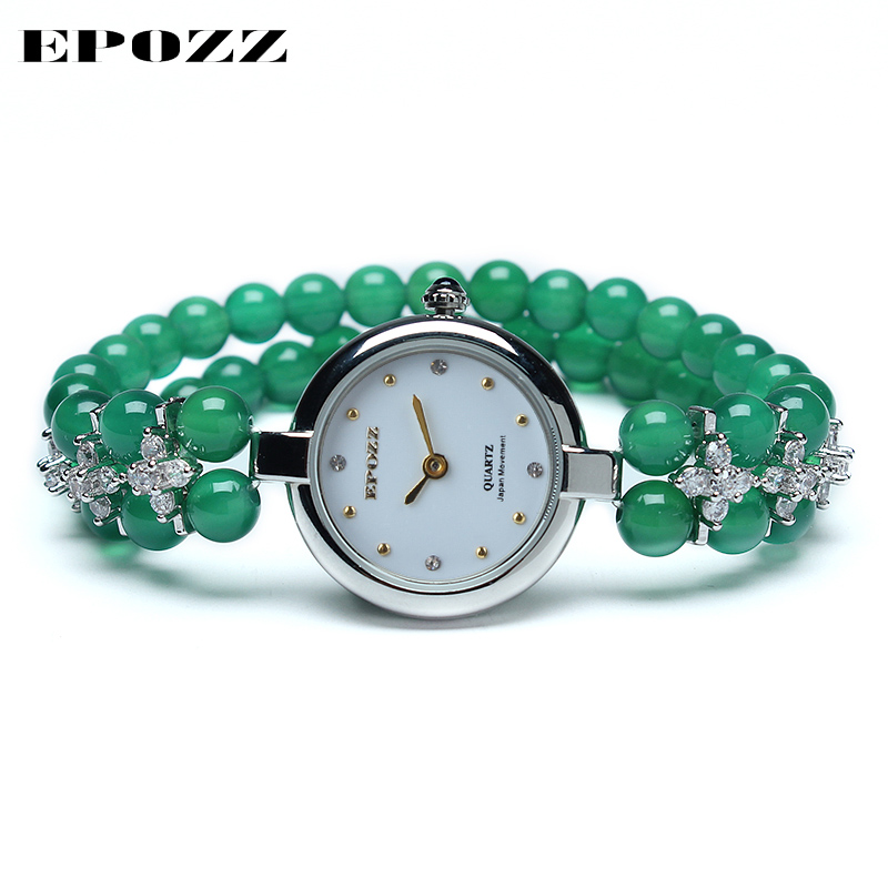 цена на Beauties of Emperor EPOZZ nature gemstone series quartz watch women 925 Silver natural stone bracelet rhinestone Clock H1622S1