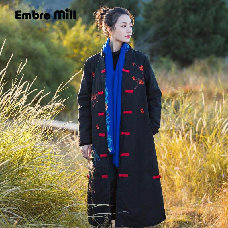 Embro moulin automne manteaux pour femmes vintage royal broderie style chinois haut de gamme fleurs dame lâche trench manteau femme M-XXL
