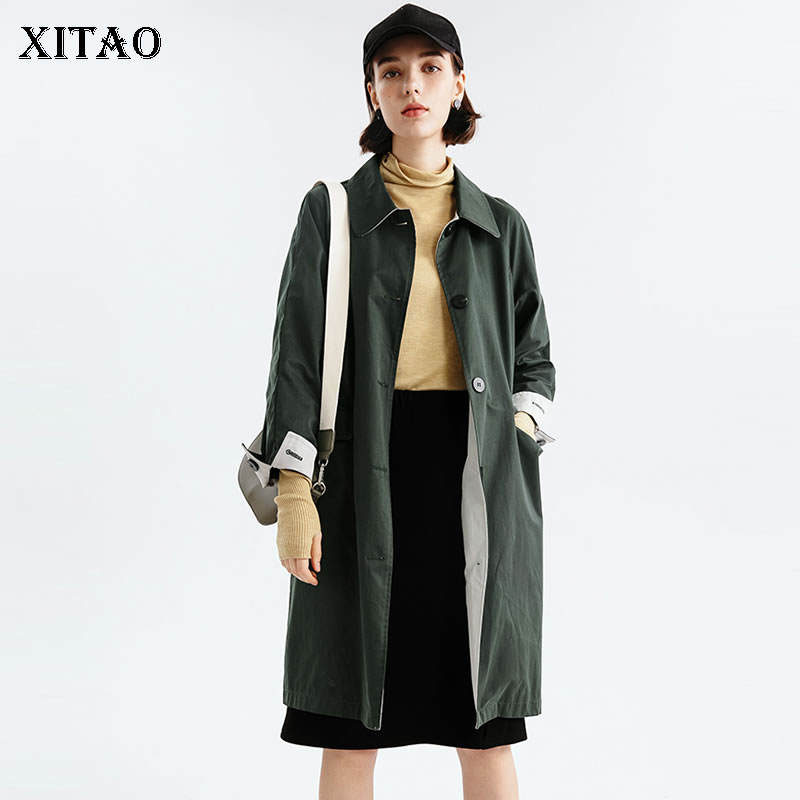 [XITAO] 2019 Spring New Europe Fashion Women Turn-down Collar Full Sleeve Coat Female Solid Color Single Breasted   Trench   ZLL3085
