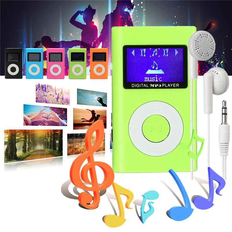 4 Hours Play Time MP3 Player USB Clip 32GB Micro SD Card Slot + Earphone Orange Blue Green Black Pink Directly Connect Charging