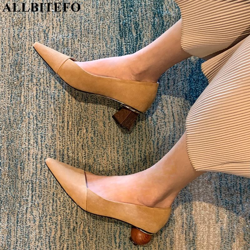 ALLBITEFO new fashion brand genuine leather pointed toe thick heel women shoes high quality office ladies shoes women heelsALLBITEFO new fashion brand genuine leather pointed toe thick heel women shoes high quality office ladies shoes women heels