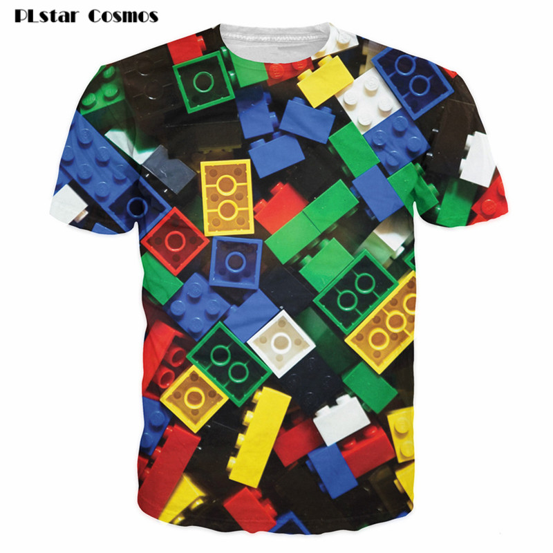 PLstar Cosmos Summer Lego Bricks T-Shirt super popular kids toy 3d print t shirt camisetas for Unisex Women Men Plus Size 5XL