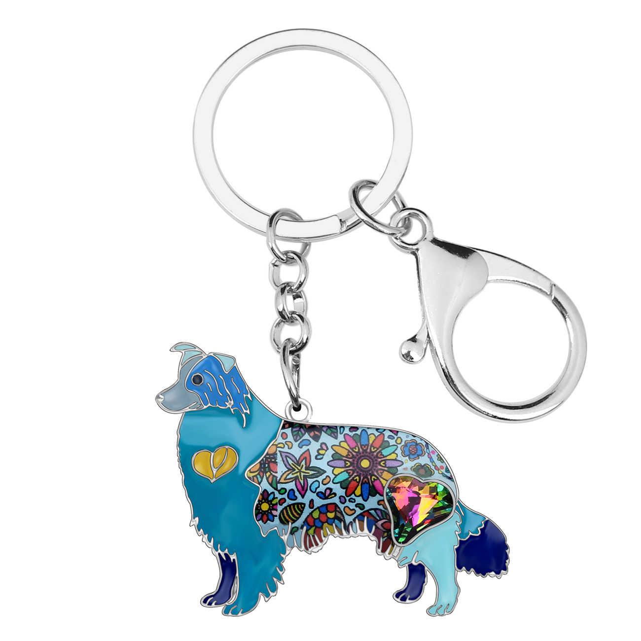 Weveni esmalte liga strass fronteira collie cão chaveiro chaveiro titular moda animal jóias para feminino menina saco encantos presente