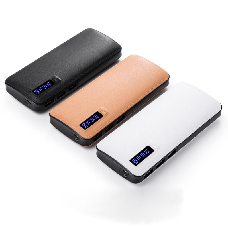 Leather 3USB 20000mAh Power Bank Universal Portable Power Bank 20000 MAh For IPhone 8 7 6 Plus Powerbank For Samsung ifans universal portable 0 7 lcd 8400mah li ion battery power bank for iphone ipod ipad more
