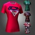 Marvel Superhéroes Superman vs Batman Compresión Apretada Camiseta Marca de Ropa Las Mujeres Crossfit Quick Dry Fit Camiseta para Mujer