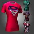 Marvel Superhero Супермен против Бэтмен Сжатия Tight Футболки Бренд Одежды Женщин Crossfit Quick Dry Fit Синглетный для Женщины