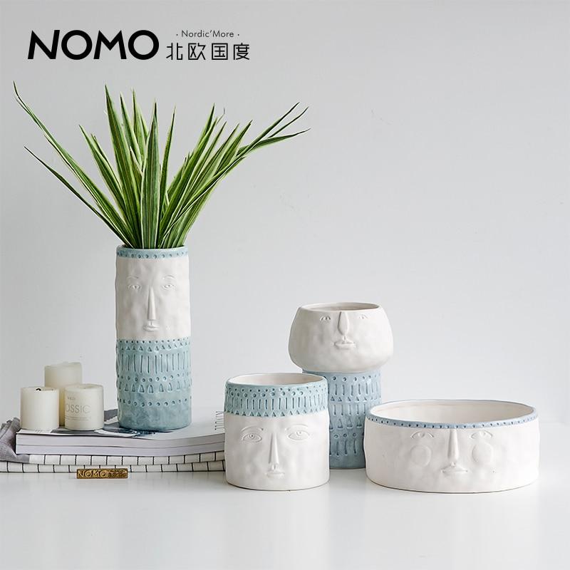 Man Face Flower Vases Home Desktop Decor Ceramic Vase High Quality Factory Direct