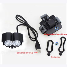 Waterproof 5000LM X2 XM-L T6 LED Bicycle USB Head Light Lamp fishing + headband Accesorios para bicicletas