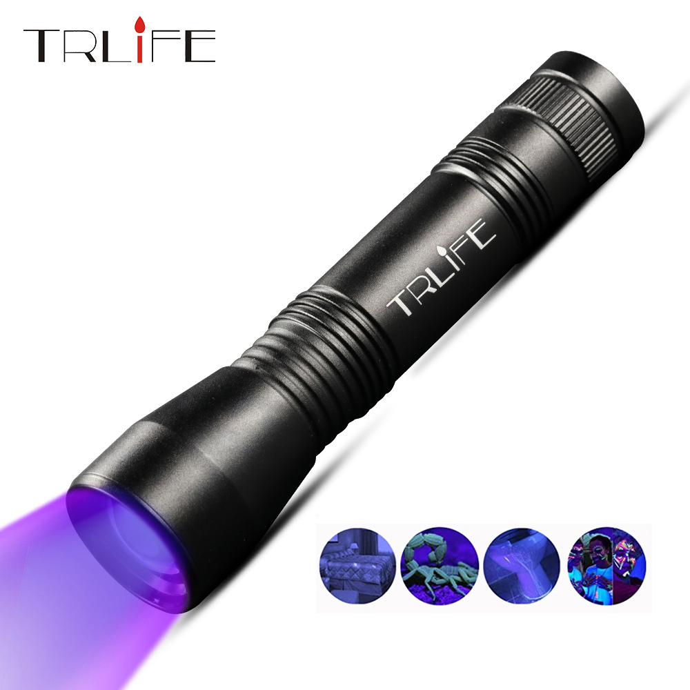 TRLIFE LED UV Flashlight 395nm Ultra Violet Zoomable Lamp Mini Led UV Light Torch Invisible Ink Marker Use 18650 Battery