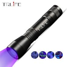 TRLIFE linterna LED UV linterna 395nm Ultra violeta zoom lámpara Led Mini luz UV antorcha Invisible tinta marcador usar la batería 18650