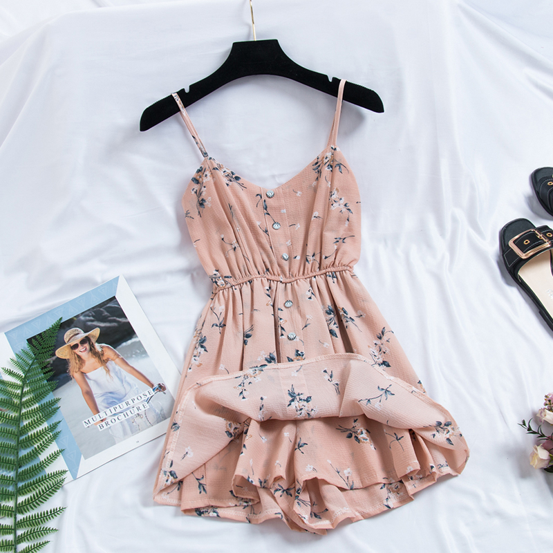 AREQW 2019 Playsuits sweet Summer Casual Bohemian Print Thin Strap Sleeveless