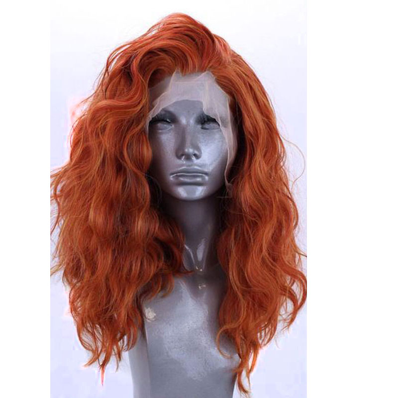 Bombshell Natural Wave Synthetic Hair Lace Front Wigs Glueless Orange Color Heat Resistant Fiber Hair Free