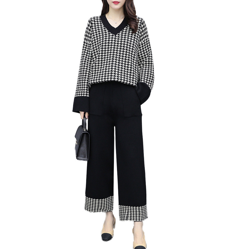 Houndstooth 2 Piece Set Women Long Sleeve V-neck Knitted Sweater And Wide Leg Pants Trousers Sets Suits Autumn Winter Casual Set