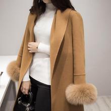 new winter women Long sleeves fashion long wool jacket belt plus size