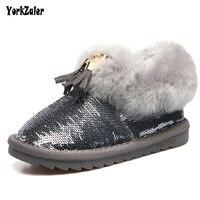 Yorkzaler Sequins Winter Children S Snow Boots Waterproof 2018 New Fashion Tassel Plush Kids Snowshoes Children