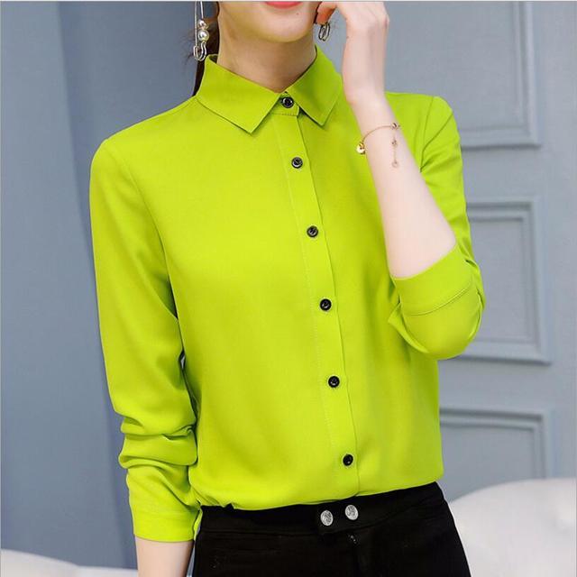 Casual Chiffon Blouse Long Sleeve Elegant Women Tops Women Clothes Slim Women Streetwear Blue White Shirt 4