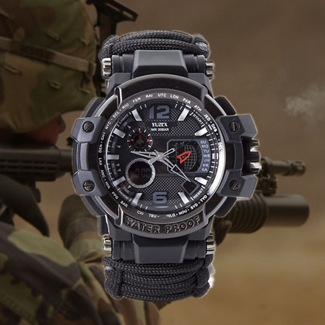 Outdoor Survival Watch Multifunctional Waterproof Military Tactical Paracord Watch Bracelet Camping Hiking Emergency Gear EDC 1