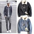 Mais Grossa De Veludo Denim Homens Jaqueta de Inverno 2015 Novo Estilo Europeu e Americano Falso Gola De Pele Jaqueta Jeans