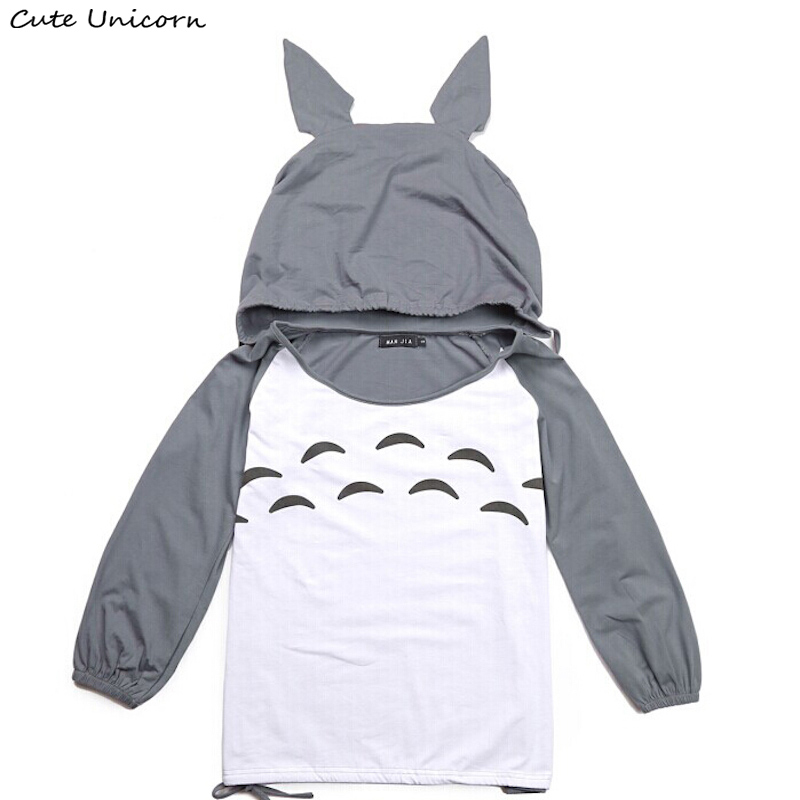 Super Cute! My Neighbor Totoro T shirt women female girls clothes hooded t-shirt anime cosplay costume Tops & Tees