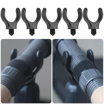 """5 unids/set M3/8 """"soportes de caña de pescar de plástico de nailon soporte de caña de pescar telescópico soporte de cabeza de carpa negro forma de U herramienta de aparejos"""